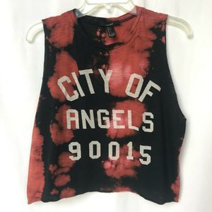 Forever 21 City Of Angels Crop Top Black Red Lg